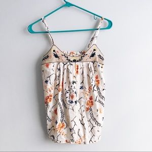 Anthropologie Lilka Pleated Flora Cami Tank top